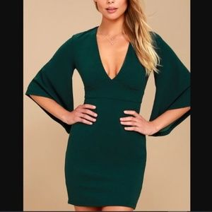 LULUS GLIMPSE OF GLAMOUR FOREST GREEN BELL SLEEVE